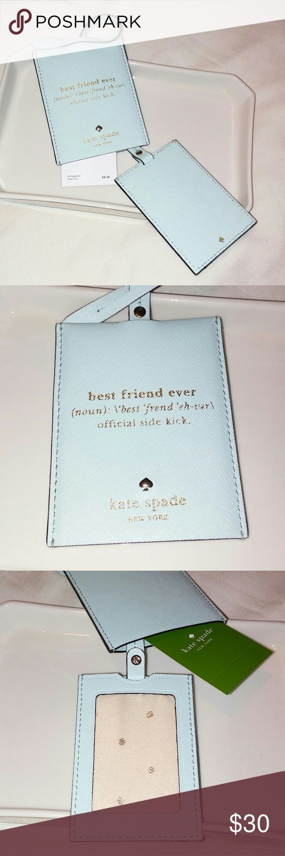 Kate Spade luggage tag. Light blue.   NWT NEW Kate Spade luggage tag in a soft light blue.  Use it for a lap top, briefcase, gym bag or luggage.  Address window pulls up inside for privacy.  Durable and beautiful...it's Kate Spade!! kate spade Accessories Key & Card Holders