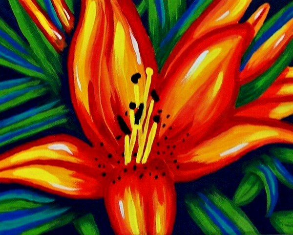 Tropical flower painting in beautiful bright bold colors ...