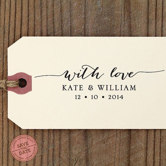 "With Love CUSTOM SELF INKING stamp - Eco Friendly - wedding favors, thank you cards, with love, personalized stamper ""Calligraphy 80"""