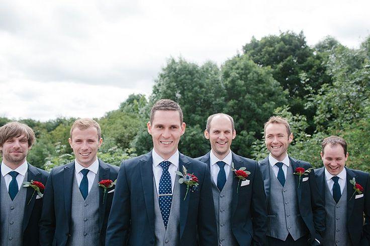 Blue and White Wedding Ideas - Navy Suit Tie Grey Waistcoat Groom Groomsmen Stylish Outdoor Tipi Wedding http://www.danhoughphoto.com/