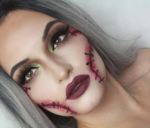 Easy Stitches Halloween Makeup Idea Perfect For A Last Minute Halloween Costume Cool Halloween Makeup Halloween Makeup Easy Halloween Makeup Diy