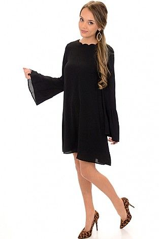 My Love Scallop Dress, Black :: NEW ARRIVALS :: The Blue Door Boutique