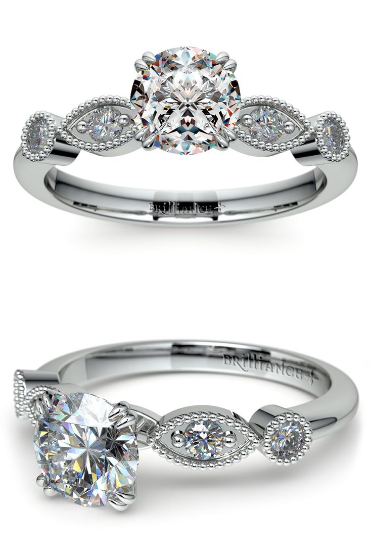 This Vintage Style Engagement Ring Setting In Platinum Pulls Inspiration  From Edwardian Era Jewelry With Milgrain