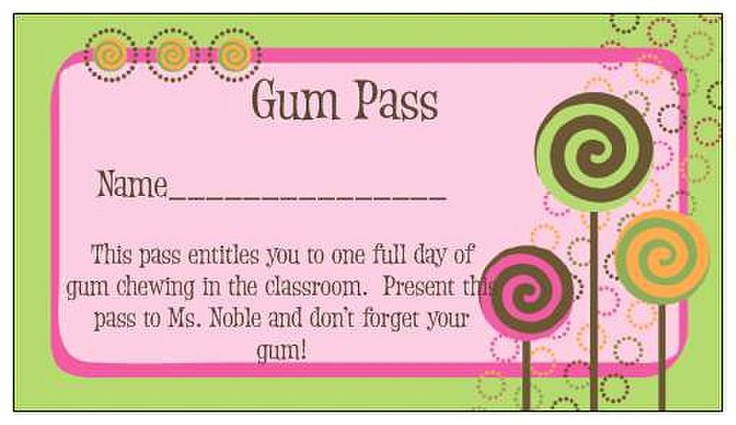 Gum Pass--the right to chew gum in our classroom! (These are a hit with my kiddos)Awesome Classroom, Vistaprint Classroom, Schools Ideas, Gum Pass, Schools Stuff, Class Behavior Management, Noble Class, Classroom Management, Classroom Ideas