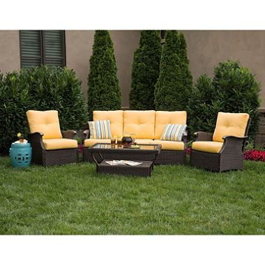 Member 39 s mark stockton deep seating set with premium for Outdoor furniture yellow