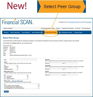 New! Taking #FinancialSCAN (and assessing nonprofit financial health) to the next level! Image: Dashboard for creating peer group in Financial SCAN