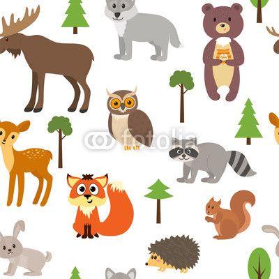 Materiał do szycia Seamless pattern with cute forest animals and trees. Zobacz materiały do szycia drukowane na zamówienie autora saenal78. Zamów bawełniany materiał do szycia z wzorem w zwierzę, las, ilustracja, tapeta, drzewa, tło, bezszwowe, ładny, wzór, wektor, kreskówka, natura, projektować, ozdoba, lis, dziki, sowa, element, kolorowy, kwiatowy, sezon, dzikość, tekstura, wystrój, szczęśliwy, włókienniczych, niedźwiedź, kolor, płowej, park, liść, królik, charakter, zabawny, ornament…