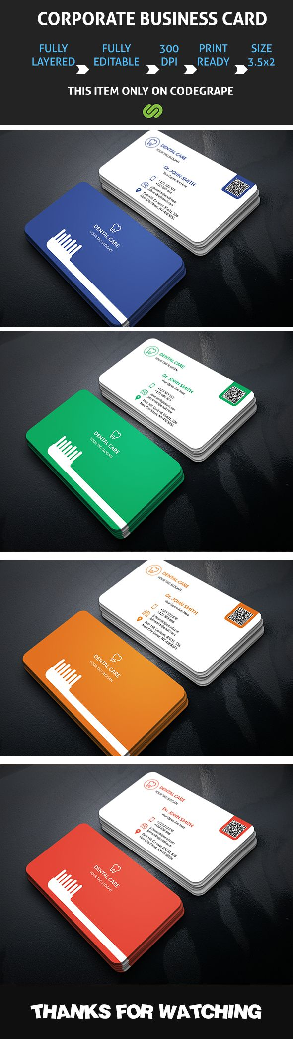 This is a Dental Business Card.This template download contains 4 color variation, which is 300 dpi print-ready CMYK 8 PSD files. All main elements are easily editable and customizable.