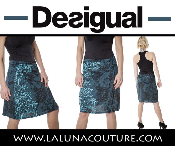 Desigual women's Cokqui skirt. Just above knee length blue paisley wrap skirt with an elasticated waistband. Highlight your femininity with Desigual skirts this season. Only $89! S- XL! Click link to order now!  https://www.lalunacouture.com/desigual-cokqui-wrap-skirt.html  #desigual #cokquiwrapskirt #shop #boutique #ootd