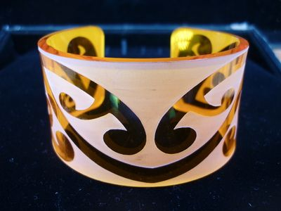 Large Orange translucent  Kowhaiwhai cuff bracelet