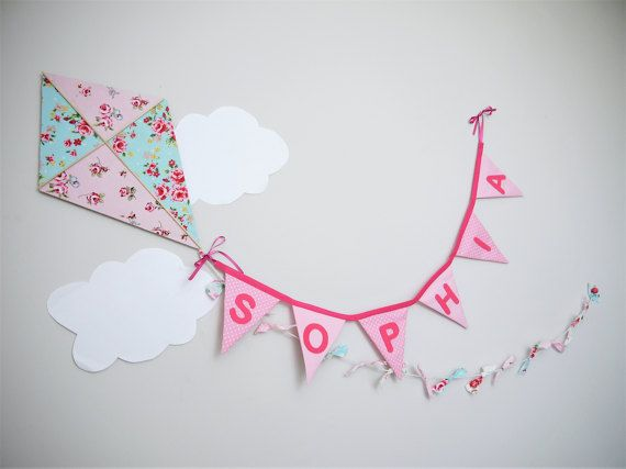 Kite bedroom decor.  Whimsical nursery decoration. Let's go Fly a Kite. Wooden and fabric kite wall hanging with personalized bunting! Hand made to order!