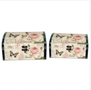 Wooden Craft Boxes Manufacturers Vintage Home Decor Manufacturer  This wooden craft boxes give you extra space to organize home, set of two have different sizes, fabulous butterflies and flowers picture show a vintage style to coordinate with home decor and furniture.