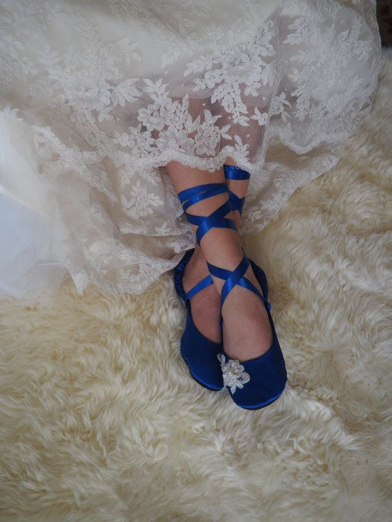 Something Blue Bridal Shoes, Cobalt Blue Wedding Shoes, Royal Blue Flat Wedding…