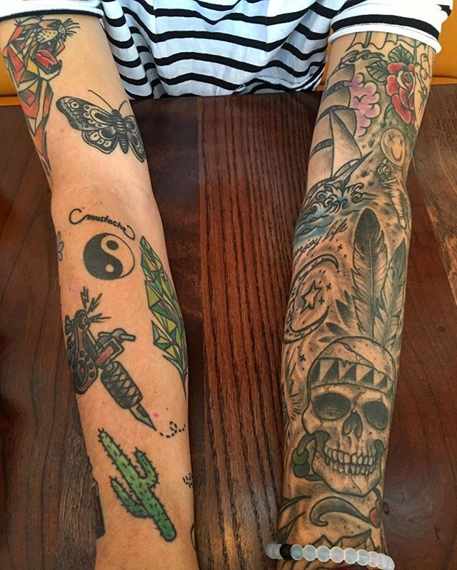 Kian lawley's tattoos. I love how the sleeve looks really nice, but even random tats can look rlly cool just next to eachother