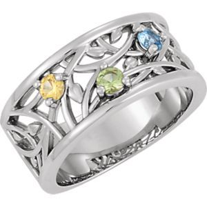 Forever Yours Jewelry www.foreveryoursjewelryinc.com 71506 / 14kt White / 3 STONE / Polished / RING FOR MOTHERS