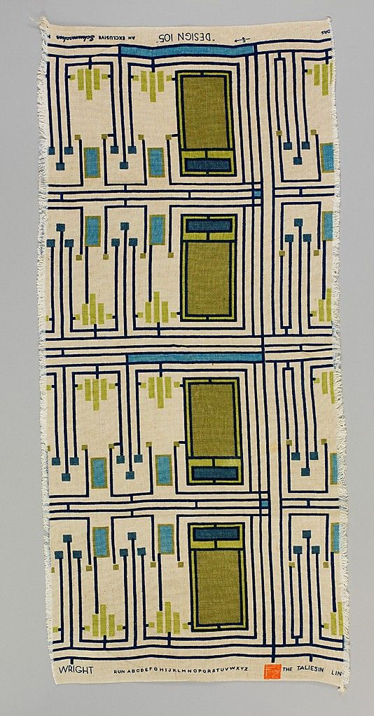 Frank Lloyd Wright 1955 - What a great, dynamic pattern! Very rhythmic. Reminds me of a Piet Mondrian painting.