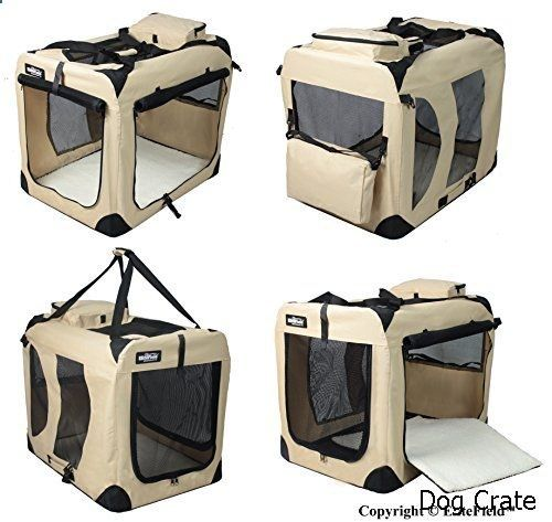 Dog Crate - EliteField 3-Door Folding Soft Dog Crate, Indoor & Outdoor Pet Home, Multiple Sizes and Colors Available