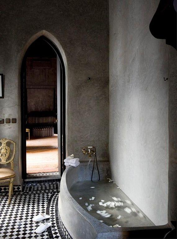 Traditional Master Bathroom with Gothic arched doorway, Standard height, Integral concrete bathtub, Master bathroom, Bathtub