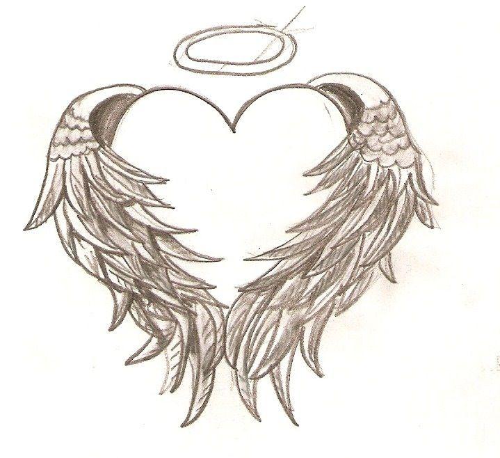 Cute heart and angel wings tattoo
