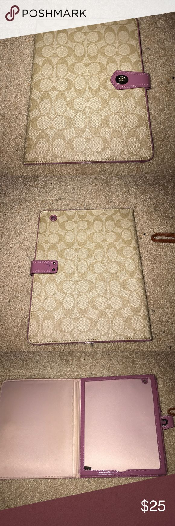 coach ipad 2 case tan and light purple coach i pad 2 case. button broke off the front, but still holds ipad just fine. Coach Bags Cosmetic Bags & Cases