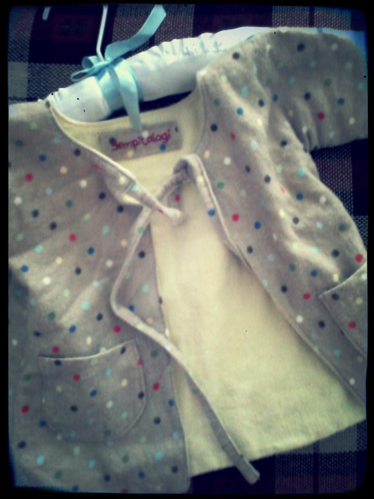 tiny bitty polka on baby cardigan