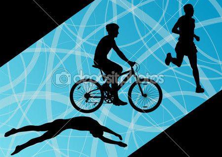 Triatlon maraton etkin bir genç erkekler Yüzme Bisiklete binme ve koşma — Stok İllüstrasyon #39225063