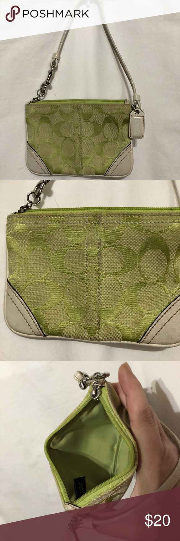 "Small Coach bag approximately 6"" x 4"" Chartreuse 4"" x 6"" Coach wristlet bag. Last pics show a light dirt spot on one side and a small thread defect on other side. Coach Bags"