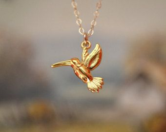 Gold or Silver Hummingbird Necklace,24k Gold Bird necklace, Hummingbird Pendant Necklace, Sterling Silver Hummingbird Necklace by malizbijoux. Explore more products on http://malizbijoux.etsy.com