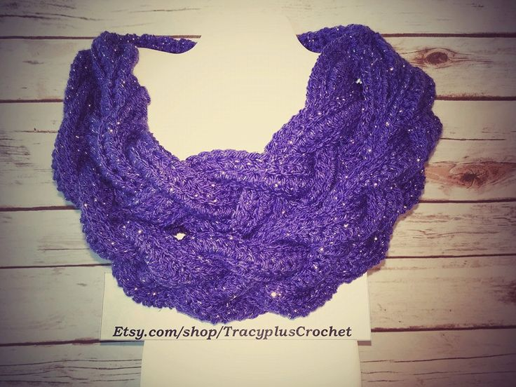 Braided scarf. Braided cowl. Crochet braided scarf. Crochet braided cowl. Purple scarf. Handmade braided scarf. Braided neck warmer. by TracyplusCrochet on Etsy