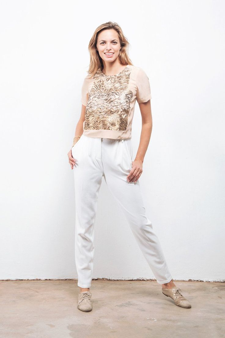'Wave' gold and silver metallic embroidered organza and nude silk Crepe de Chine top.