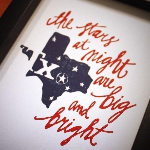 Texas Letterpress Art Print