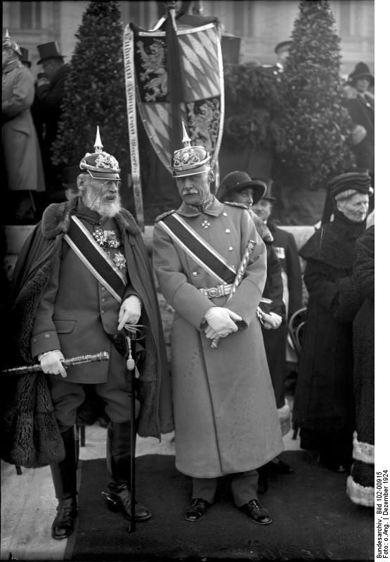 Prince Rupprecht of Bavaria and King Leopold II of Belgium, who was in the process of turning the Belgian Congo into a horrible slave colony that would make him unimaginably rich while causing his colonial subjects to suffer and die with complete abandon. He was the cousin of Queen Victoria.