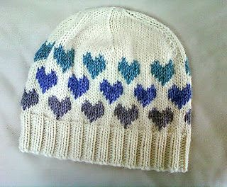 This is a cute pattern with a chart for the hearts. It can either be knitted with an extra knit row between the decrease rows to make a loose hat, or the decrease rows can be worked one after the other for a closer fitting hat.