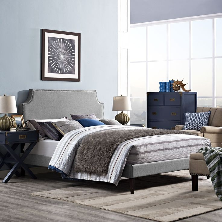 Modway Laura Light Grey Platform Bed with Squared Tapered Legs, Beige
