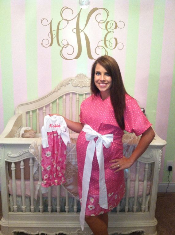 Matching Mother and Baby Maternity Hospital Gowns-Monogrammed with Matching Hairband and Hairbow (for Girls) ALL Materials For BOYS or GIRLS