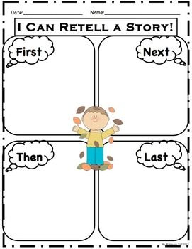"""""""First, Next, Then, Last"""" fall themed worksheet (with and without lines)"""