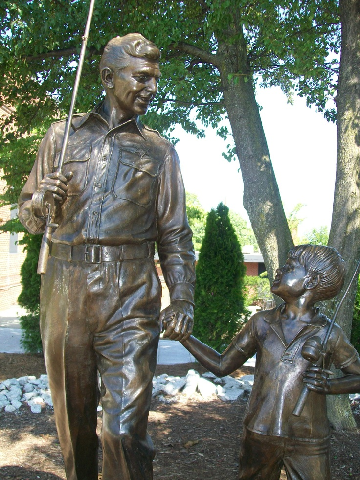 Andy Grifith and Opie statue at the Andy Griffith musem in Mt.Pilot, NC