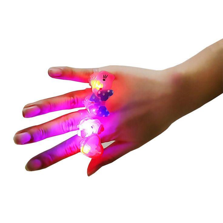 10 Pcs/lot Baby Anime Cartoon LED Flashing Finger Rings Electronic Toys