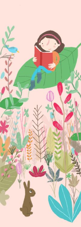 Reading girl by Marloes De Vries (ilustration for reading nook)