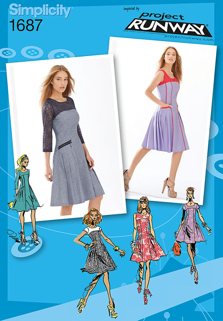 Simplicity 1687 - Misses' and Miss Petite dress with seamed bodice and pleated, flared skirt. Design elements include upper bodice with neckline and back variations and long or cap sleeves. Great for day or evening.