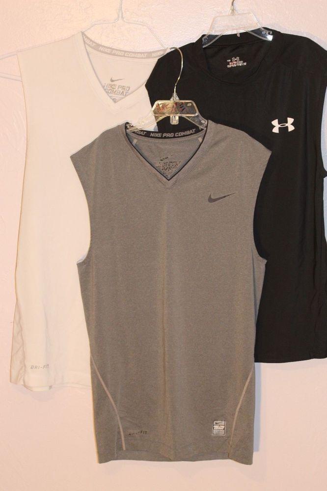 7dbb5d4f517542 Men s Nike Pro Combat Dri-Fit Under Armor Base Layer Sleeveless Shirt 3 lot  GUC  Nike  ShirtsTops