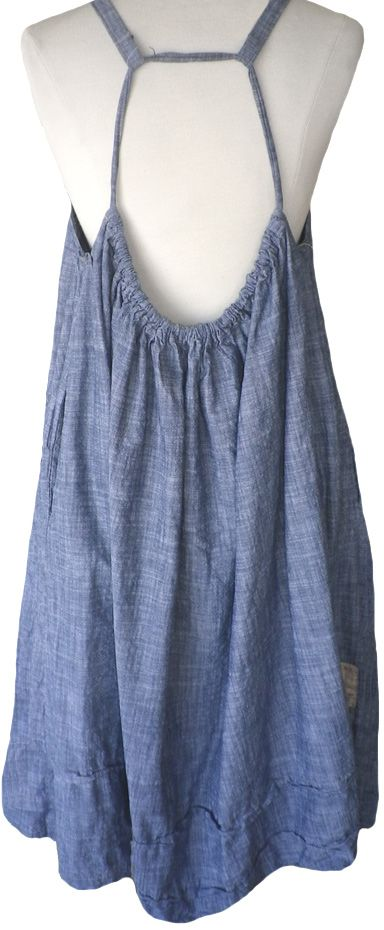 Magnolia Pearl: Blue chambray cotton Amalie Apron Dress
