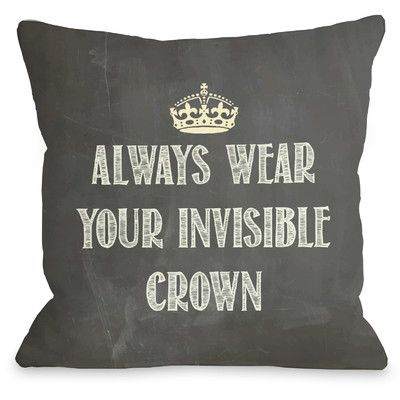 Found it at Wayfair - Invisible Crown Chalkboard Throw Pillow