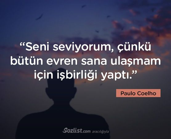 """""""Seni seviyorum, çünkü bütün evren sana ulaşmam için işbirliği yaptı."""" #paulo #coelho #sözleri #yazar #şair #kitap #şiir #özlü #anlamlı #sözler"""