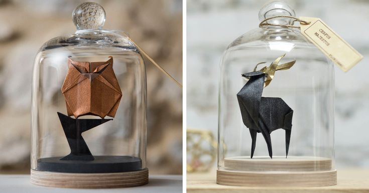 Artist Found An Amazing Way To Preserve Origami By Using Glass Bell Jars | Bored Panda