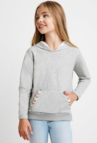 Girls Chevron-Trimmed Hoodie (Kids) | Forever 21 girls - 2000141861