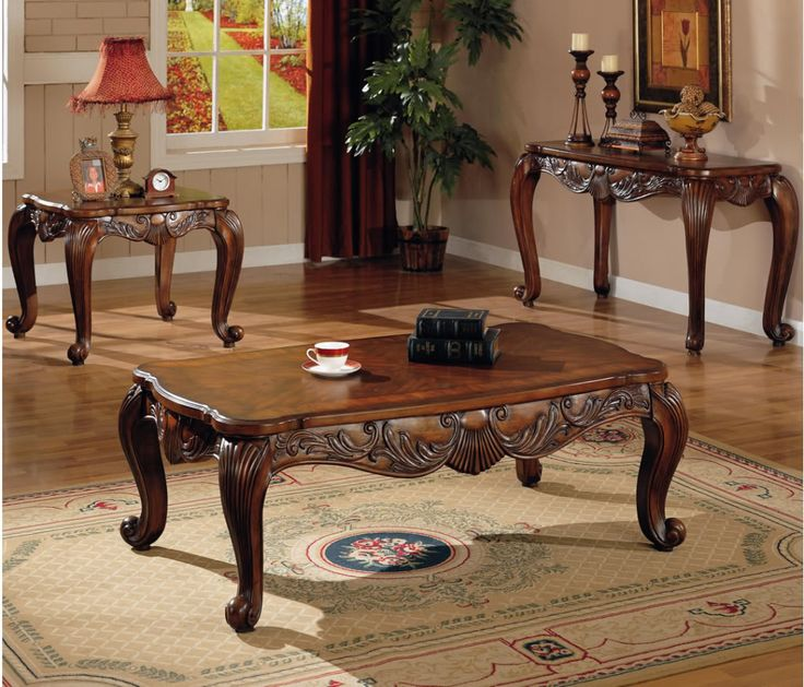 3 Pc Traditional Coffee End Table Set Living Room