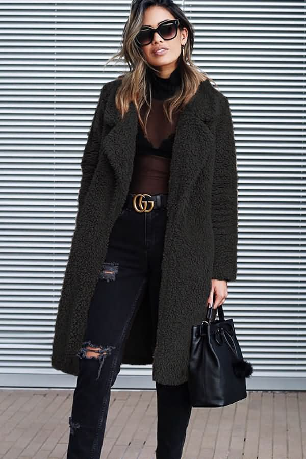Women Black Notched Collar Faux Fur Long Sleeve Open Front Chic Teddy Coat - S