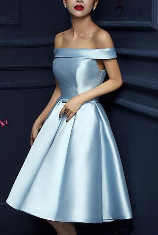 Sky Blue Satin Prom Party Dresses  New Sexy Slash Neck Short Formal Wedding Party Dress Elegant