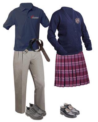 Es ropa para la escuela. Es azul y rojo.  Mi opinion es la ropa no es estar de moda.